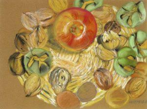 Pommes et noix - pastel