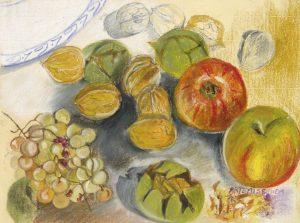 Pommes, raisin et noix - pastel