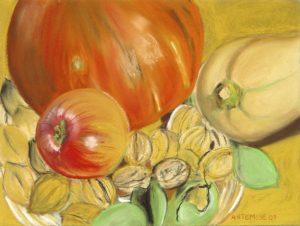 Potimarron, butternut, pomme et noix - pastel